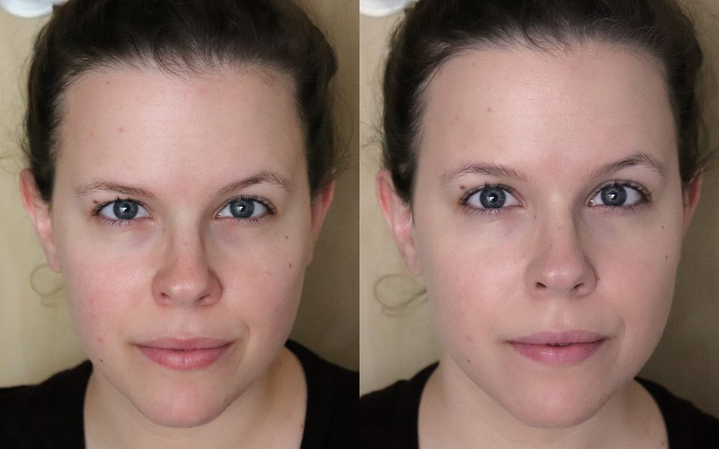 Halo Tinted Moisturizer before and after